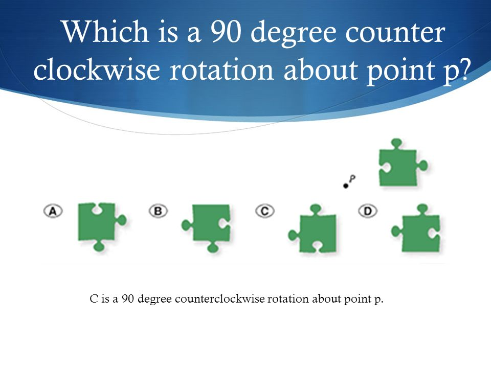 Which is a 90 degree counter clockwise rotation about point p