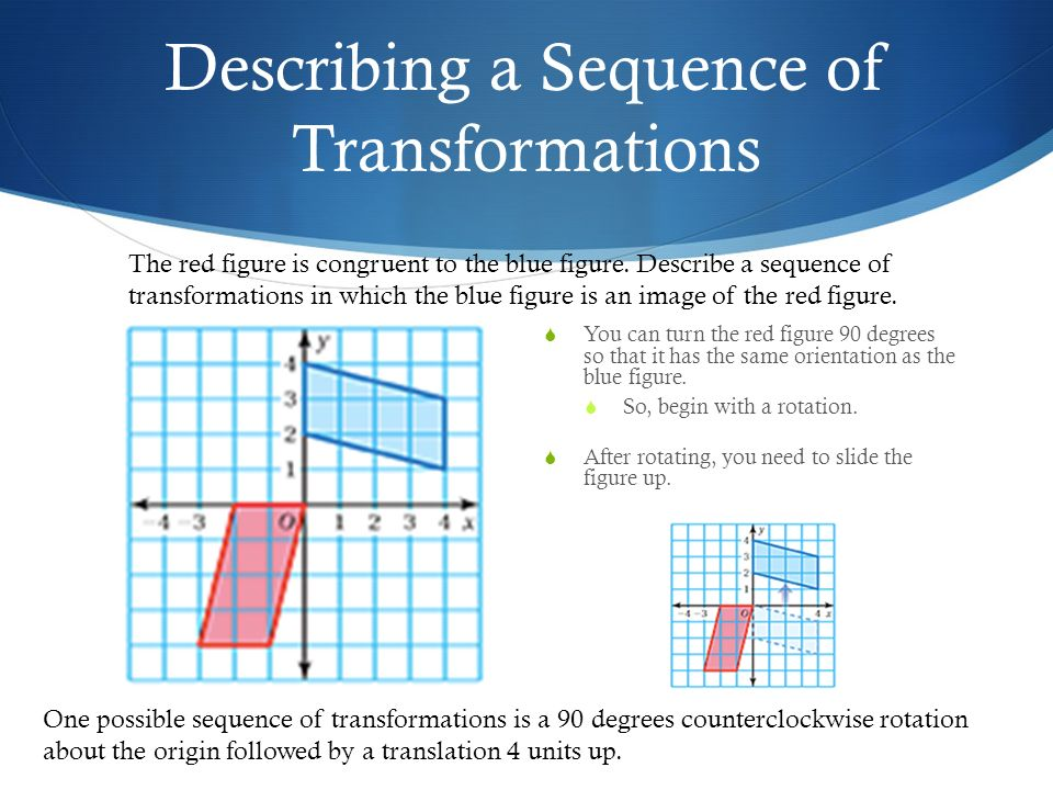 Describing a Sequence of Transformations