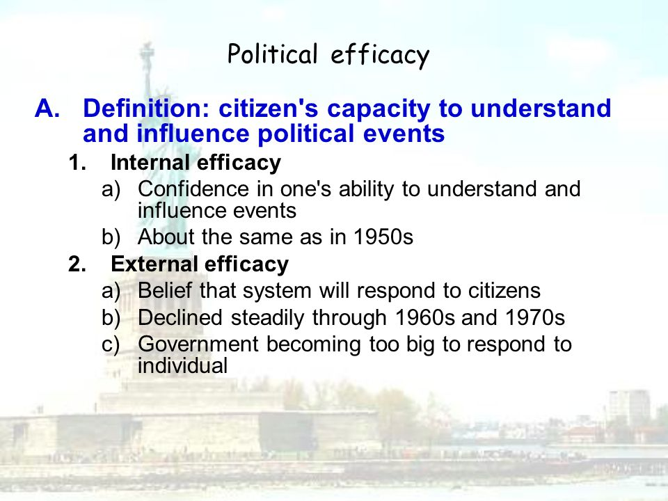 Political Efficacy Definition: Citizen S Capacity To Understand And  Influence Political Events. Internal Efficacy