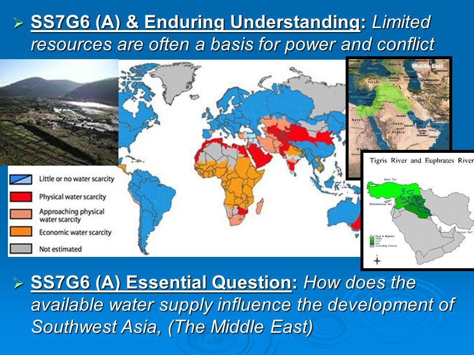 SS7G6 (A) & Enduring Understanding: Limited resources are often a basis for power and conflict