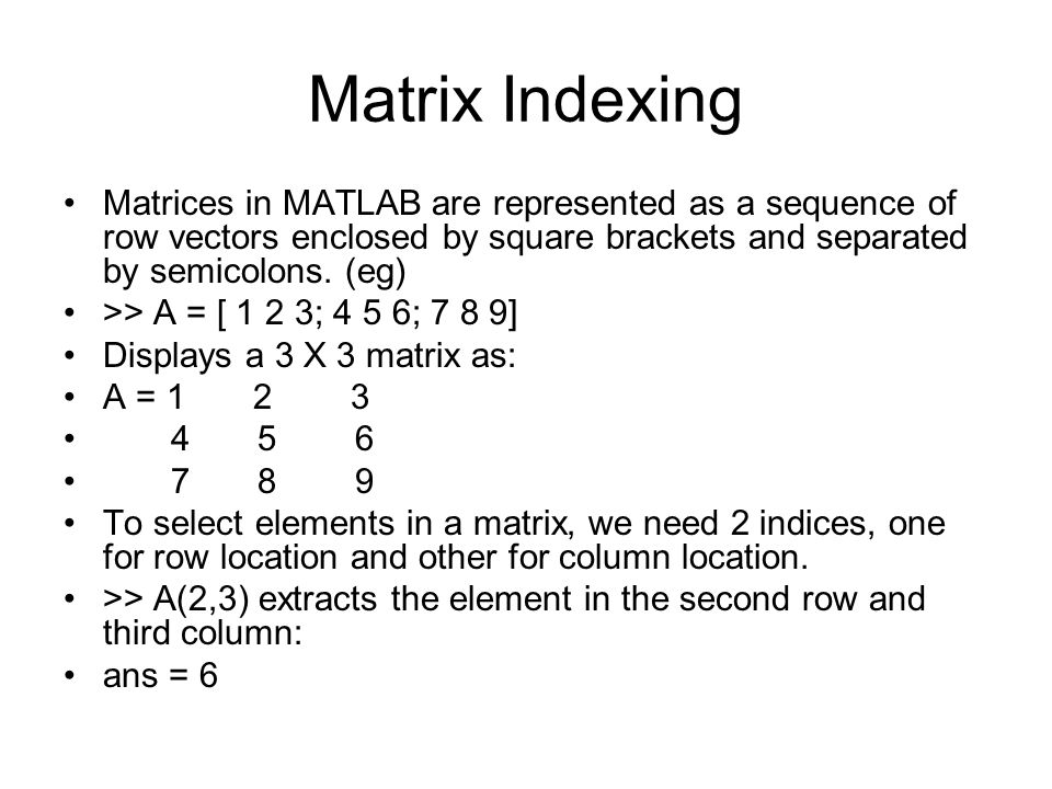 how to get second column of a matrix in matlab