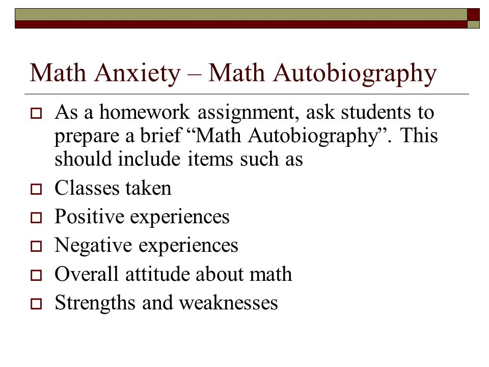 math anxiety research paper This paper will discuss the problem further, in order to get at the root of what it means to have math anxiety, but will also offer explanations and advice as to how to combat this problem and function without any difficulties when required to undertake a mathematical question.