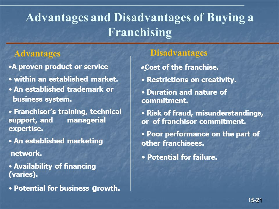 the benefits and disadvantages of the concept of franchising The advantages and disadvantages of franchising in france 1 running head:  but the potential benefits are too great to  lets us try to grasp this concept first.