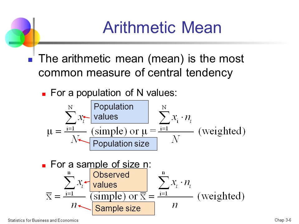 arithmetic mean and data The arithmetic mean is the sum of all the numbers in a data set divided by the quantity of numbers in that set more precisely, note that this definition refers to the arithmetic mean, as.