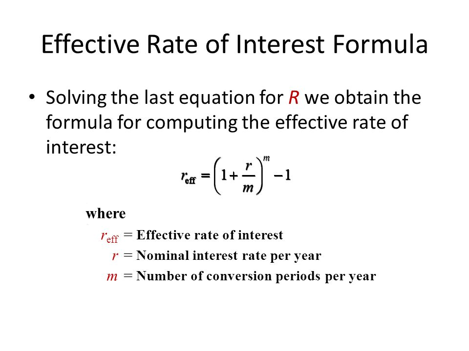Nominal Annual Interest Rate Formulas: