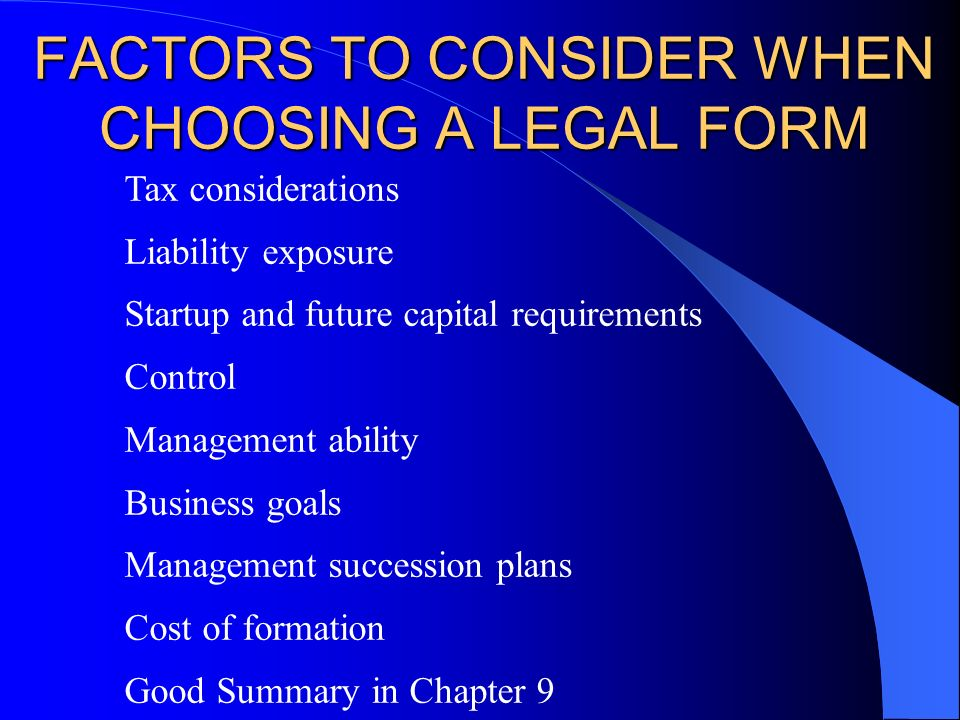 Entr  Chapter  The Organizational Plan Legal Forms Of  Ppt