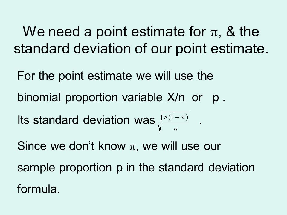 Estimation ppt video online download we need a point estimate for p the standard deviation of our point estimate ccuart Gallery