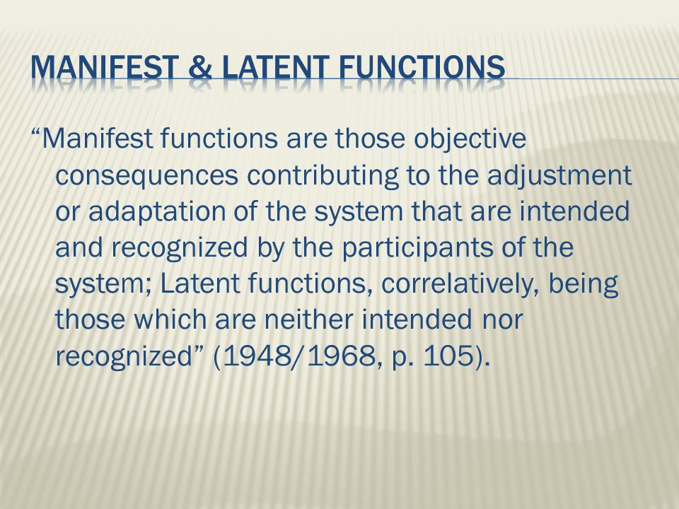 manifest and latent functions essay By examining some of the manifest and latent social functions of of the manifest and latent social functions of whole essay and download the pdf.