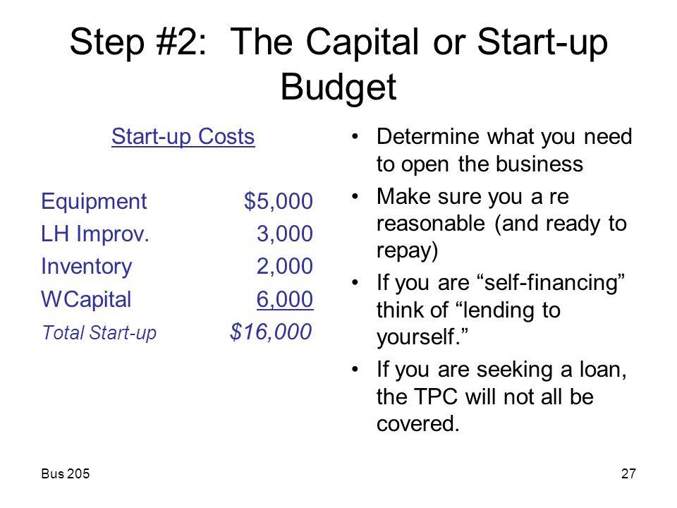 start up budget