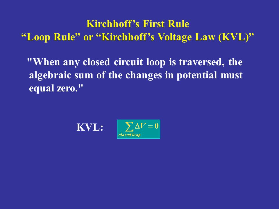 Kirchhoff's First Rule Loop Rule or Kirchhoff's Voltage Law (KVL)