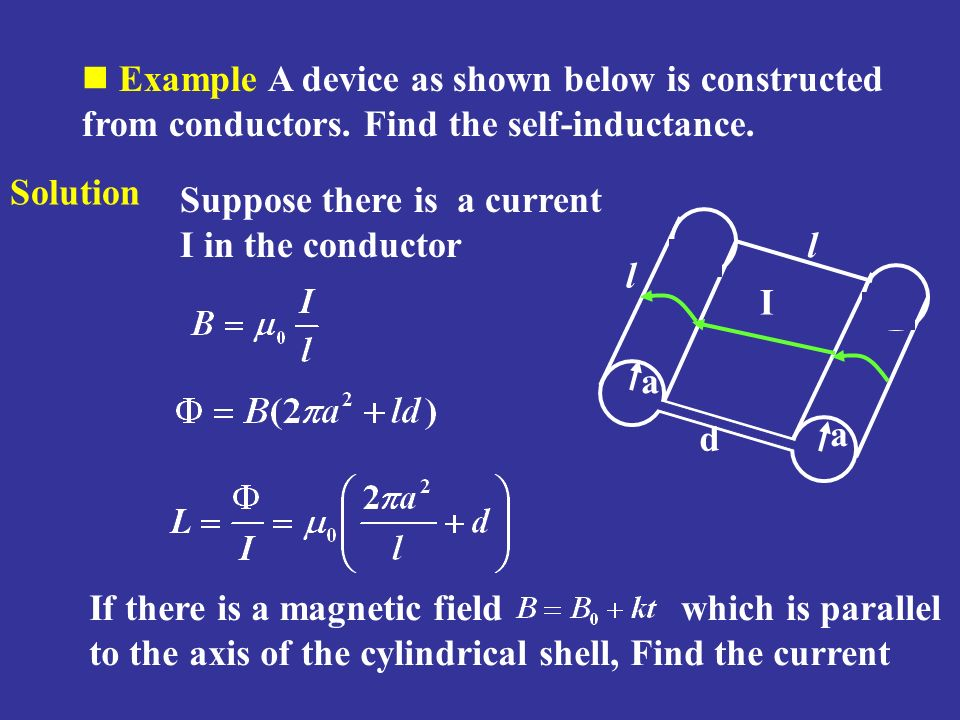 Example A device as shown below is constructed from conductors