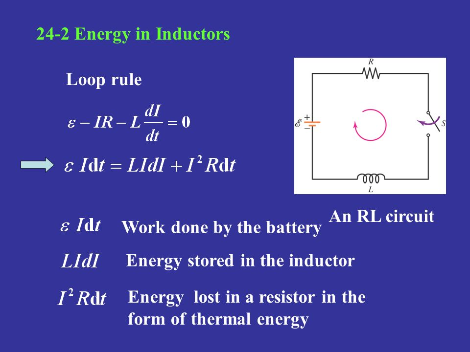 24-2 Energy in Inductors Loop rule. An RL circuit. Work done by the battery. Energy stored in the inductor.
