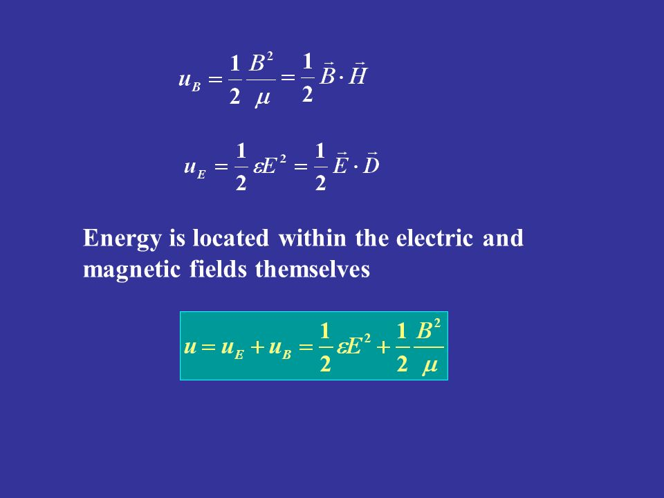 Energy is located within the electric and magnetic fields themselves