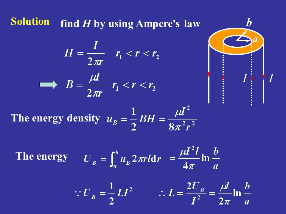 Solution find H by using Ampere s law I The energy density The energy