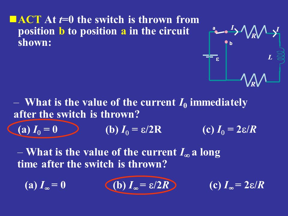 ACT At t=0 the switch is thrown from position b to position a in the circuit shown: