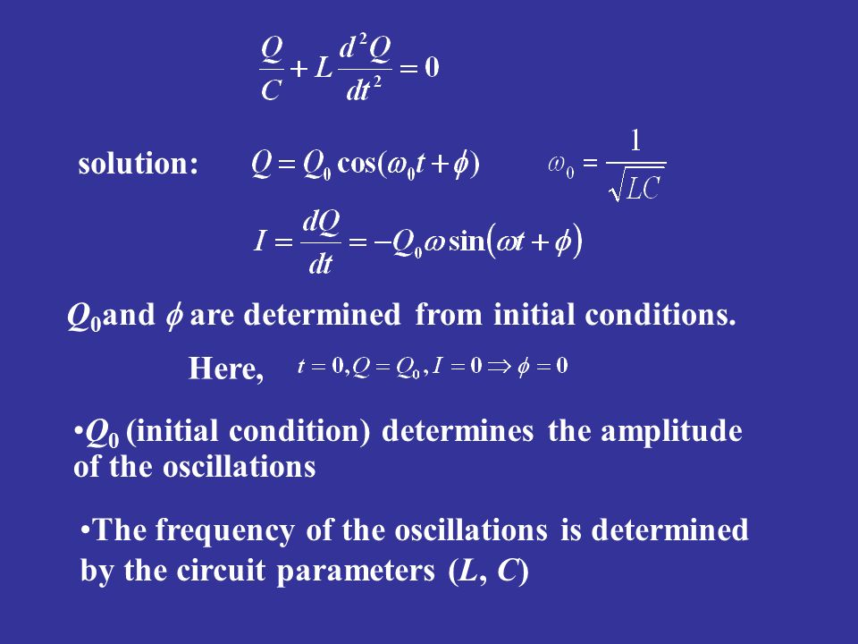 solution: Q0and f are determined from initial conditions. Here, Q0 (initial condition) determines the amplitude of the oscillations.