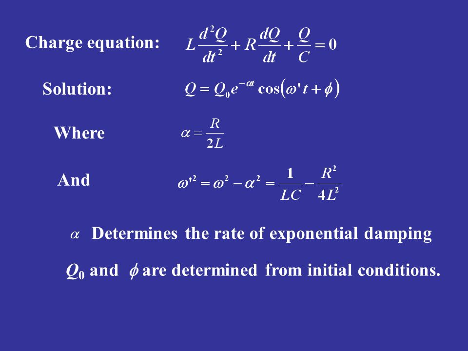 Charge equation: Solution: Where. And. Determines the rate of exponential damping.