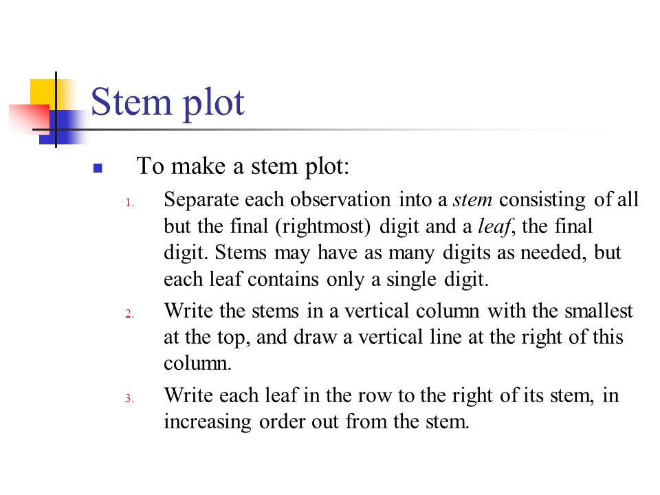 Stem plot To make a stem plot: