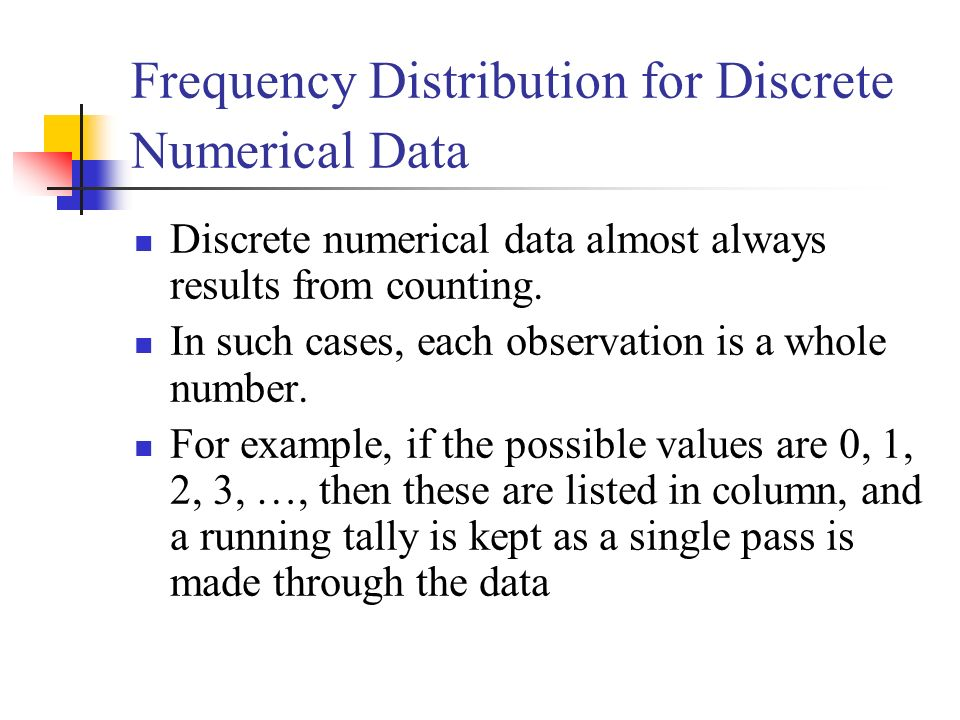 Frequency Distribution for Discrete Numerical Data