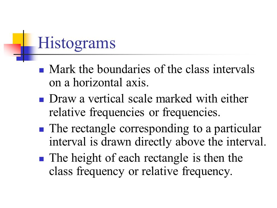Histograms Mark the boundaries of the class intervals on a horizontal axis.