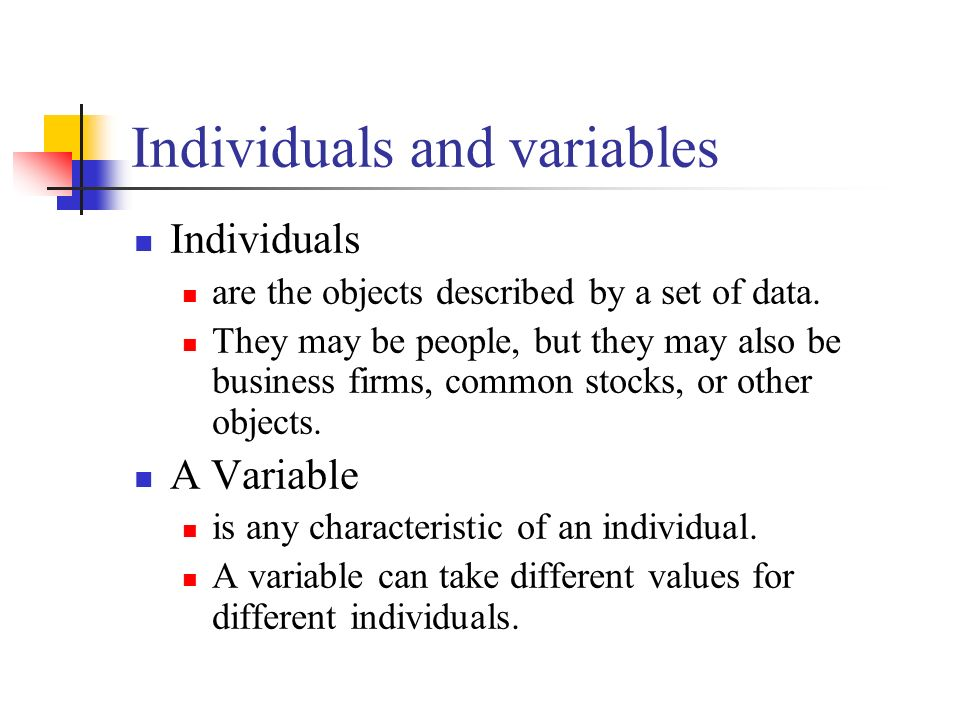 Individuals and variables