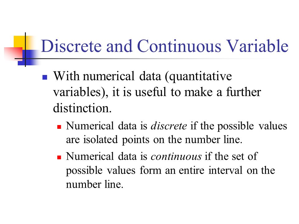 Discrete and Continuous Variable
