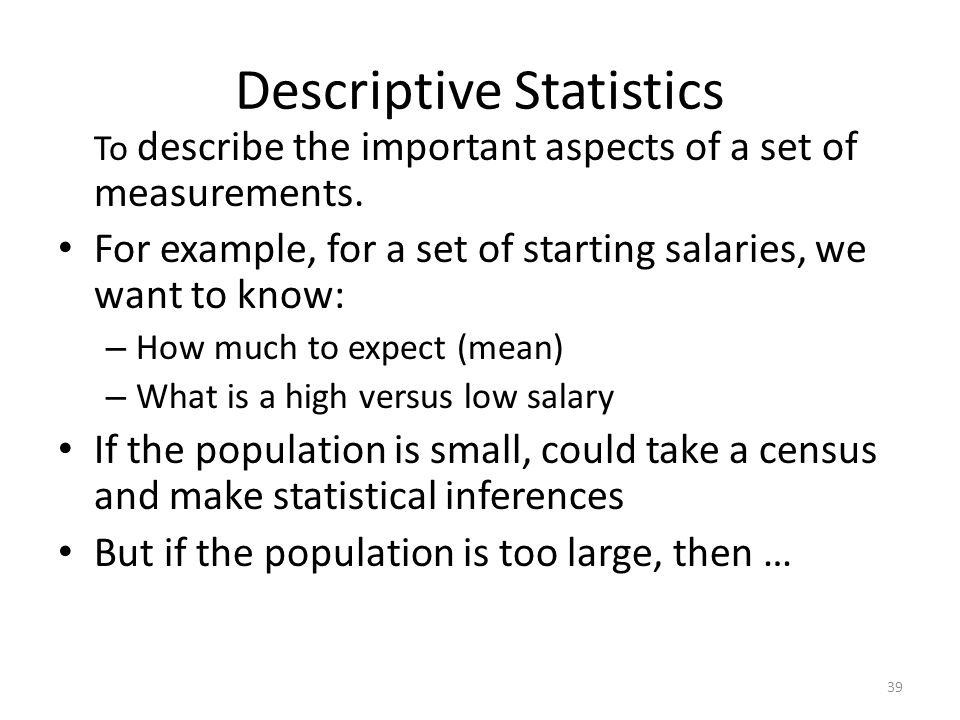 Examples of Descriptive Statistics