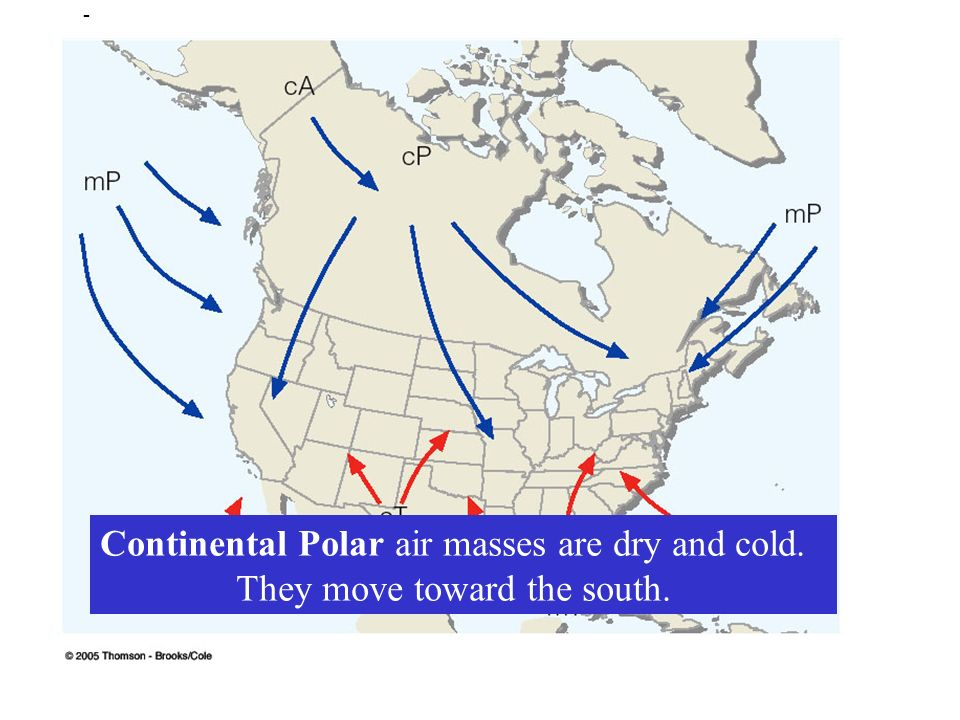 Air Masses Ppt Video Online Download - Air masses map of us hot dry cool moist