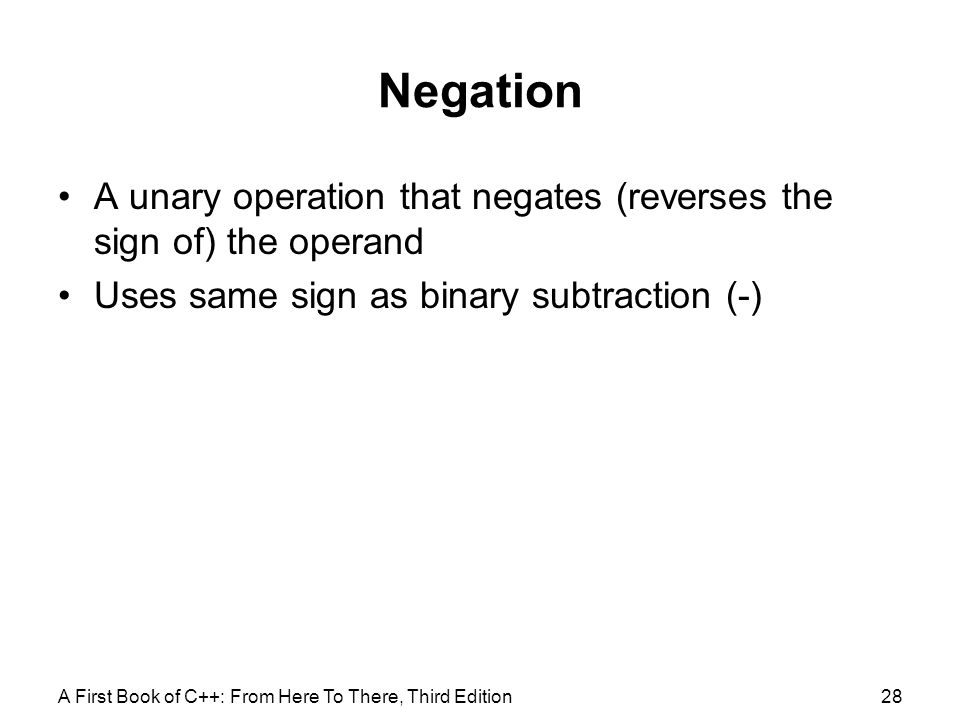 Negation A unary operation that negates (reverses the sign of) the operand. Uses same sign as binary subtraction (-)