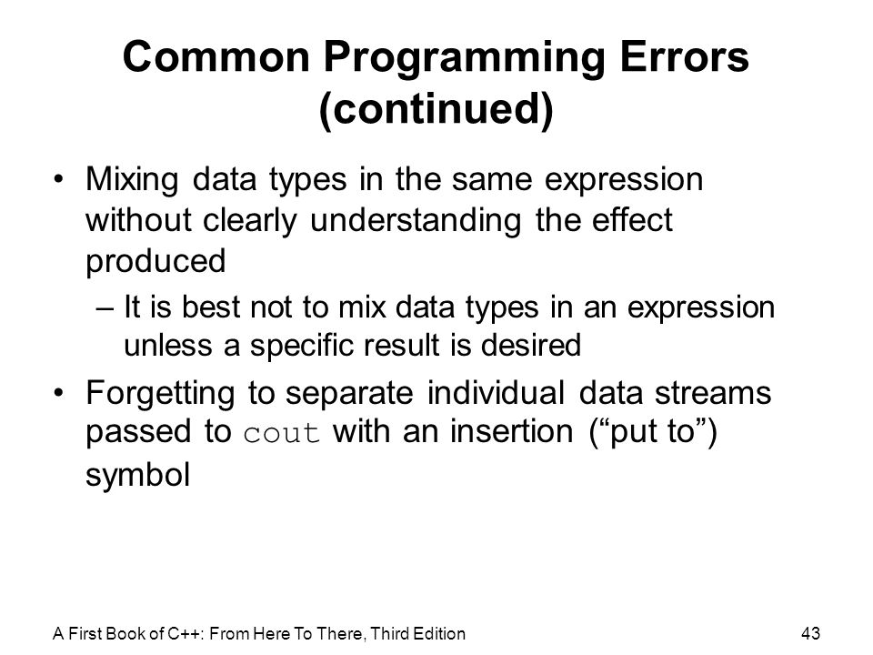 Common Programming Errors (continued)