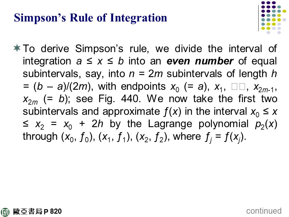 Simpson's Rule of Integration