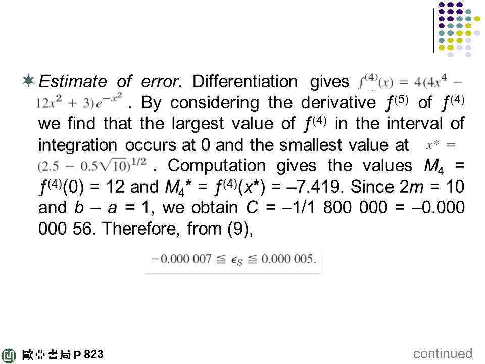 Estimate of error. Differentiation gives