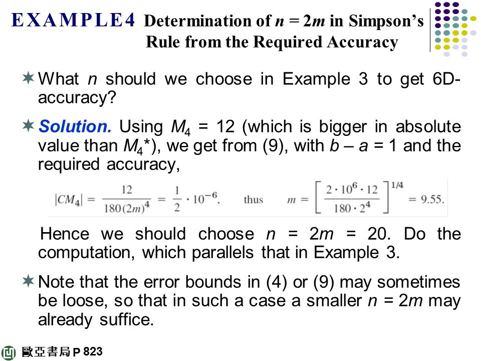 E X A M P L E 4 Determination of n = 2m in Simpson's Rule from the Required Accuracy