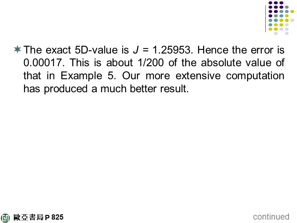 The exact 5D-value is J = Hence the error is