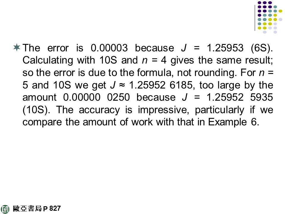 The error is because J = (6S)