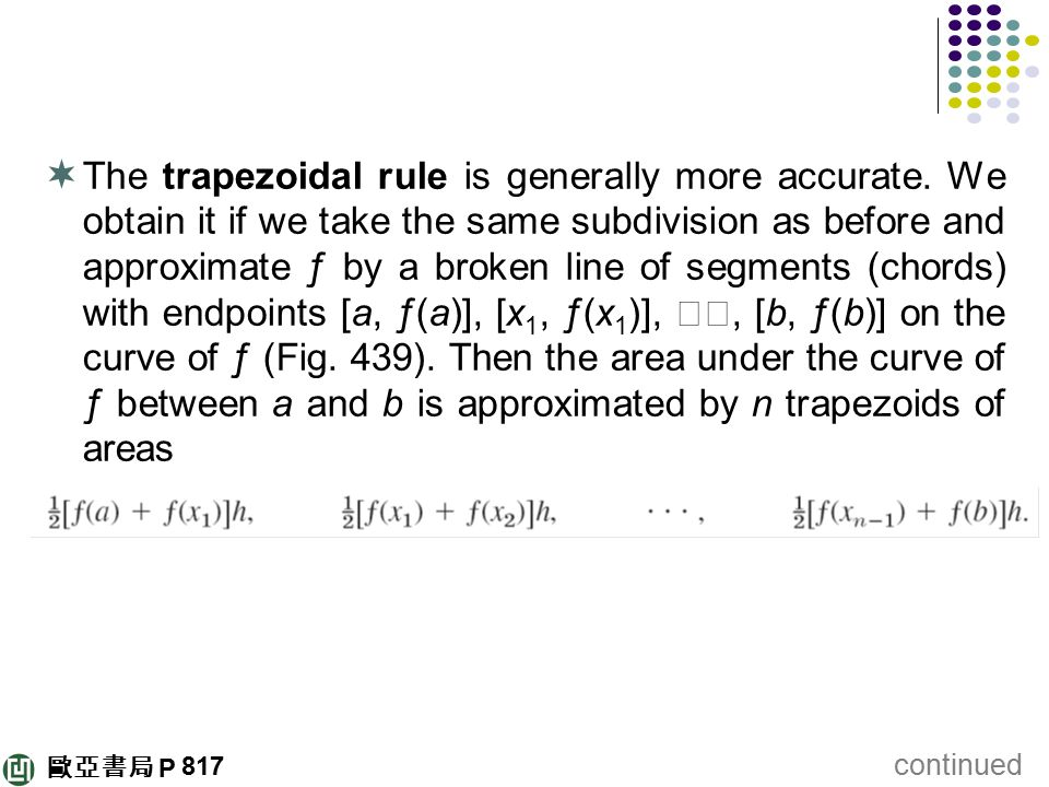 The trapezoidal rule is generally more accurate