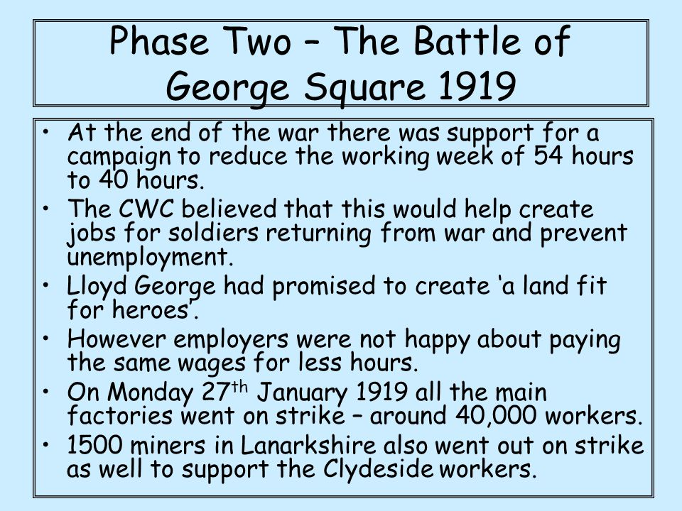 Phase Two – The Battle of George Square 1919