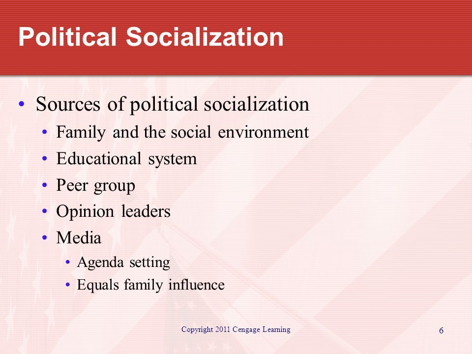5 factors that influence political socialization Chapter 5, pp 98-107 in understanding society: an introduction to sociology  that may influence socialization  to the political and economic.