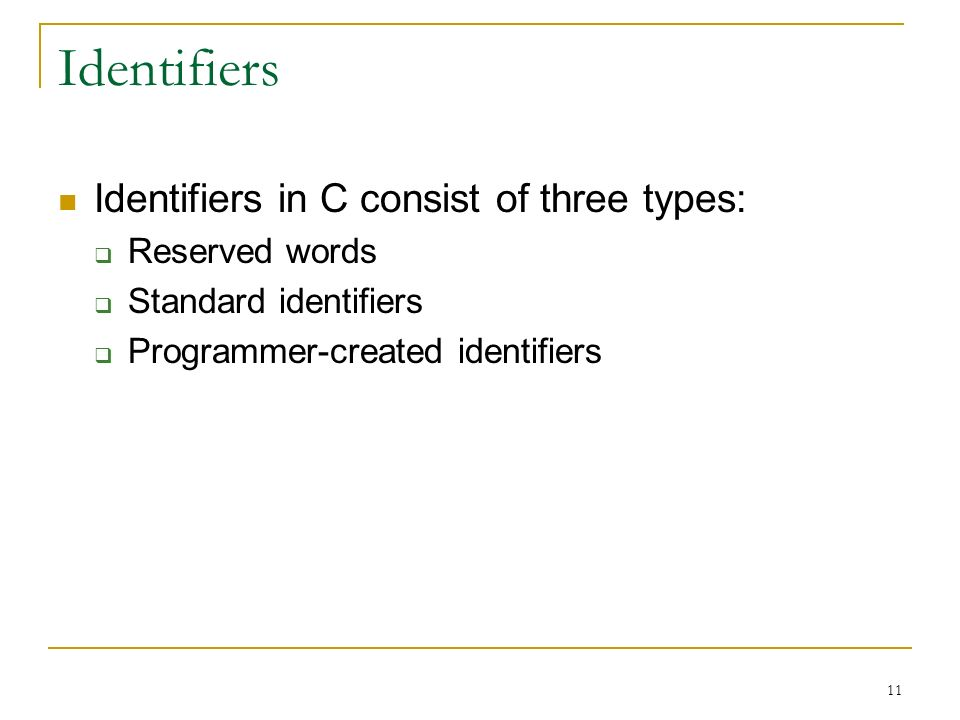 Identifiers Identifiers in C consist of three types: Reserved words