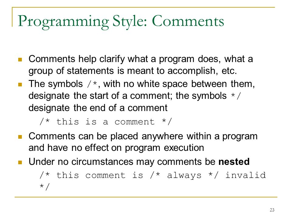 Programming Style: Comments