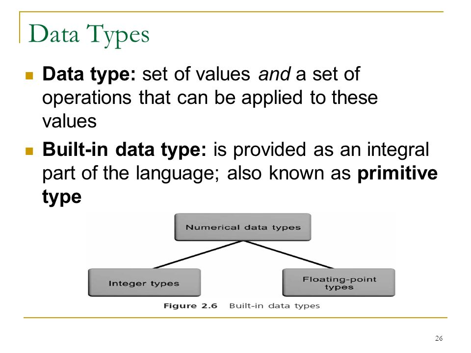 Data Types Data type: set of values and a set of operations that can be applied to these values.