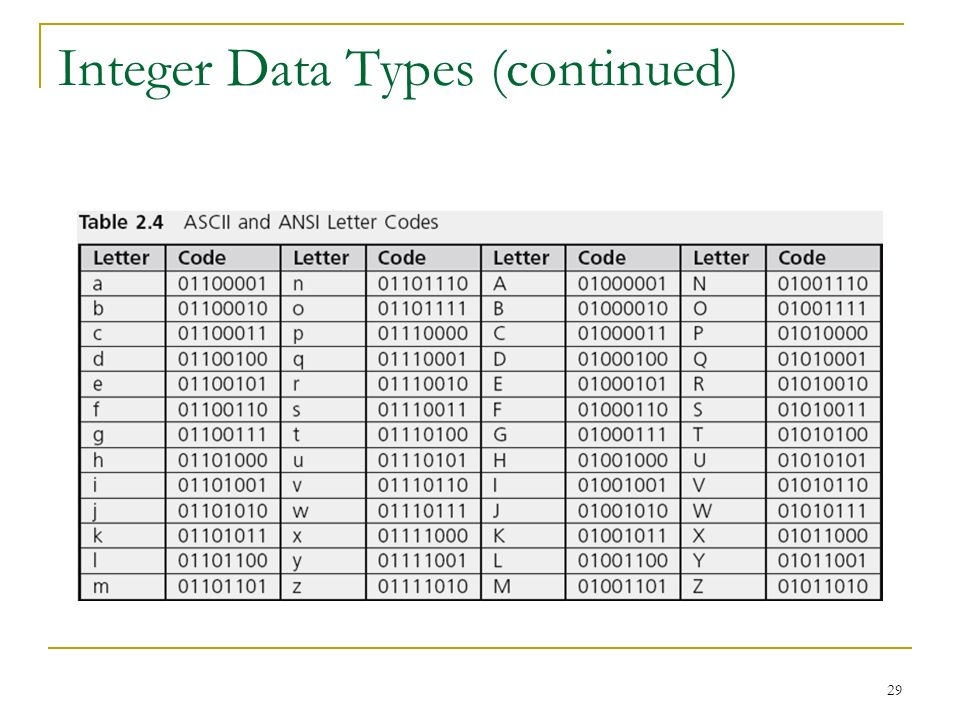 Integer Data Types (continued)