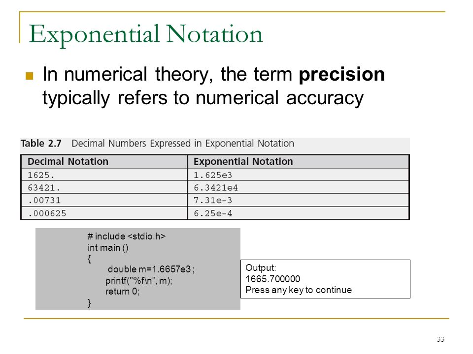 Exponential Notation In numerical theory, the term precision typically refers to numerical accuracy.
