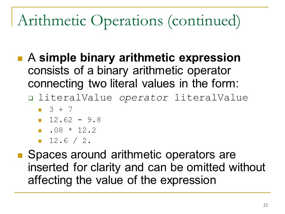 Arithmetic Operations (continued)