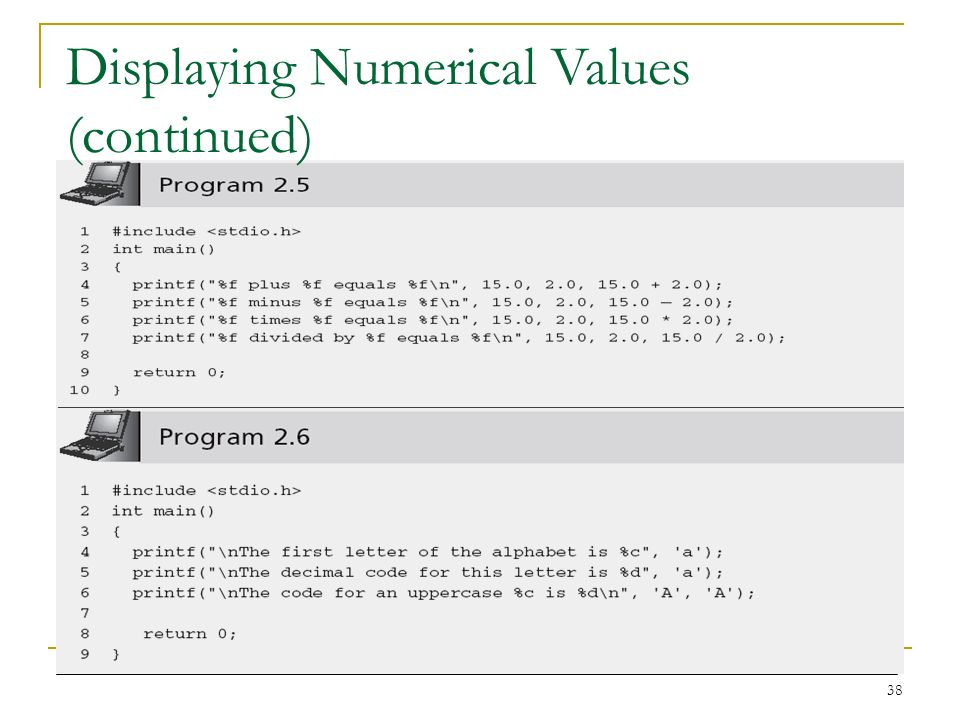 Displaying Numerical Values (continued)