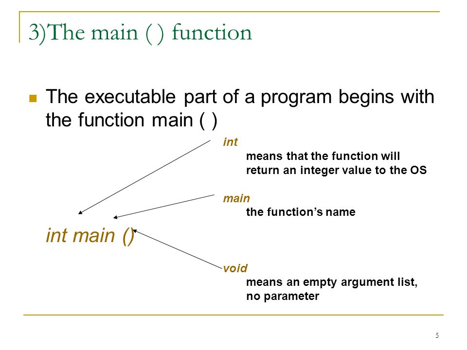 3)The main ( ) function int main ()