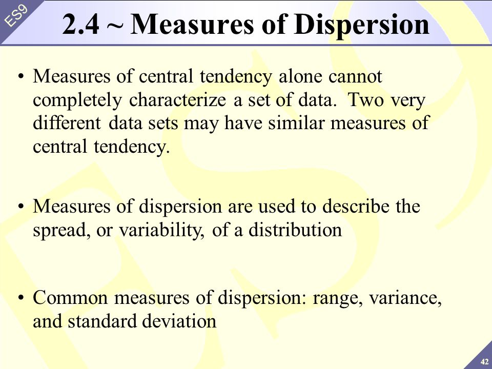 measures of central tendency standard deviation and variance relationship