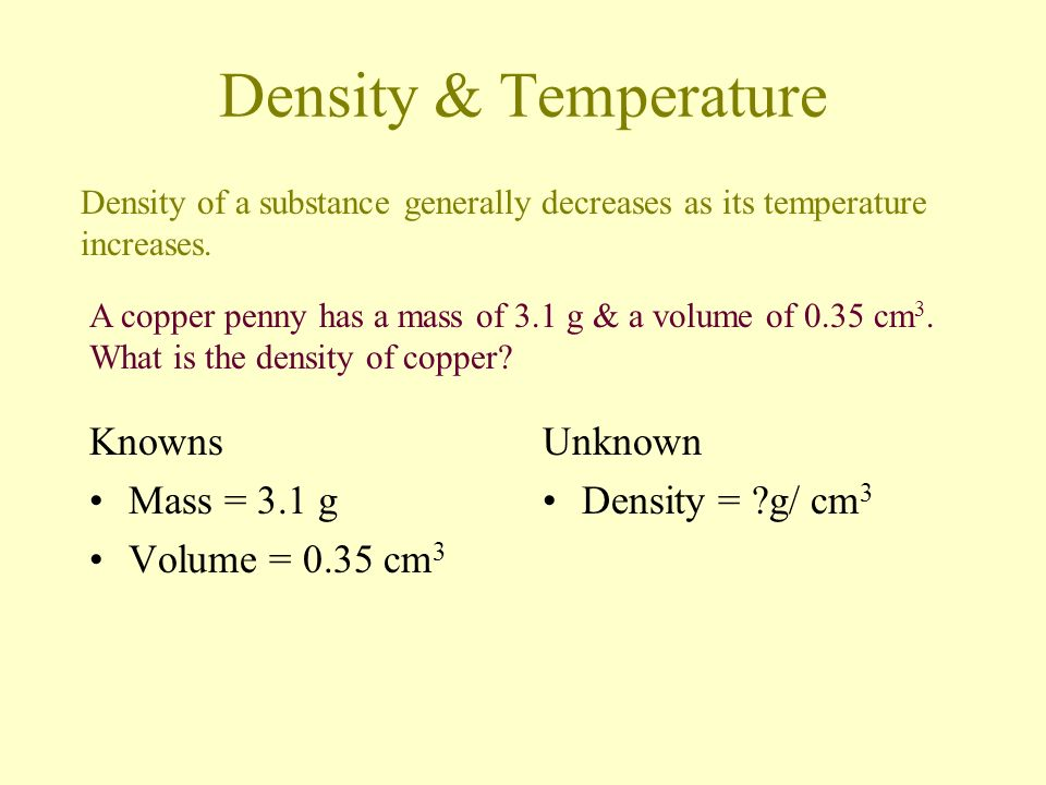 Density & Temperature Knowns Mass = 3.1 g Volume = 0.35 cm3 Unknown