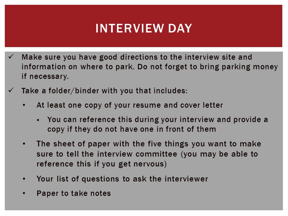 The job interview content based on unm career services for Do i bring a cover letter to an interview