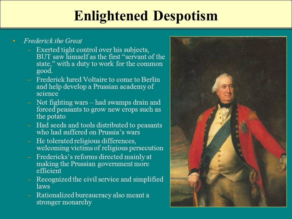 frederick the great enlightened absolutism 10 frederick the great and enlightened absolutism t c w blanning despite periodic attempts to bury it, the issue of frederick the great's relationship with the enlightenment keeps thrusting its.